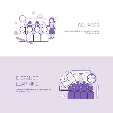 Set of Courses And Distance Learning Banners Business Concept Template Background With Copy Space Vector Illustration