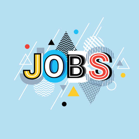 Jobs Word Creative Graphic Design Modern Business Concept Over Abstract Geometric Shapes Background Vector Illustration