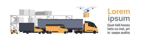 Warehouse Delivery, Different Truck Cars And Lorry Over Containers Shipping And Transportation Concept Horizontal Banner With Copy Space Flat Vector Illustration