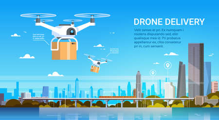 Drone With Boxes Fly Over Modern City Background, Air Transportation Delivery Concept Flat Vector Illustration