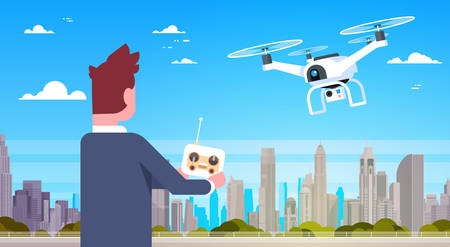 Business man holding remote controller for modern drone fly over city buildings flat vector illustration