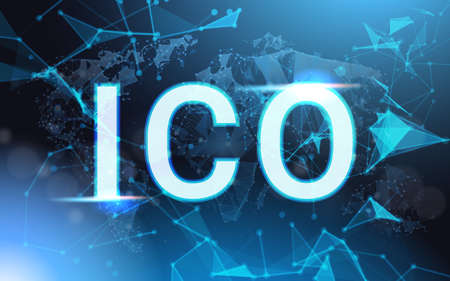 Ico Sign Over Futuristic Low Poly Mesh Wireframe On Blue Background Initial Coin Offering Concept Vector Illustration Ilustracja
