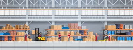 People Working In Warehouse Lifting Box With Forklift. Logistic Delivery Service Concept Horizontal Banner Flat Vector Illustration  イラスト・ベクター素材
