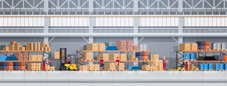 La gente che lavora in scatola di sollevamento del magazzino con il carrello elevatore. Illustrazione piana di vettore dell'insegna orizzontale di concetto di servizio di distribuzione logistica