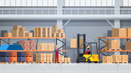 Workers Of Warehouse Lifting Box With Forklift On Rack. Logistic Delivery Service Concept Flat Vector Illustration