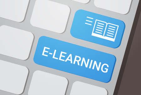 E-learning Button On Laptop Keyboard Online Education Concept Flat Vector Illustration Stock Illustratie