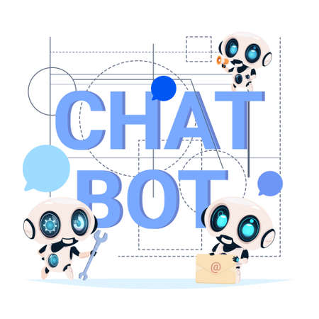Chat Bot Service Banner Modern Technology Of Technical Support Chatter Robot Concept Flat Vector Illustration Illustration