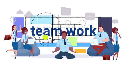 Teamwork Concept Business Team, Group Of Creative Businesspeople Working Together Over Modern Geometrical Abstract Background Flat Vector Illustration