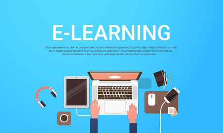 E-learning Education Online Banner With Student Laptop Computer Workplace Top View Background With Copy Space Flat Vector Illustration