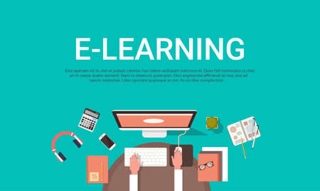 E-learning Education Online And University Banner With Student Desktop Computer Top View Background With Copy Space Flat Vector Illustration