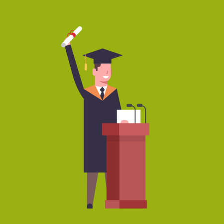 Happy Student In Graduation Cap And Gown Standing At Tribune Hold Diploma On Green Background Flat Vector Illustration Vettoriali