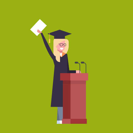 Happy Girl Student In Graduation Cap And Gown Standing At Tribune Hold Diploma On Green Background Flat Vector Illustration