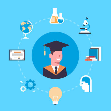 University Or College Graduation Concept Student In Cap And Gown Over Education Icons Flat Vector Illustration