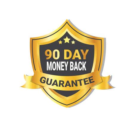 Golden Shield Devolución de dinero en 90 días Etiqueta de garantía con cinta aislada ilustración vectorial