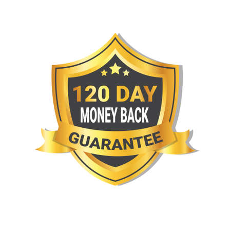 Golden Shield Money Back In 120 Days Guarantee Label with Ribbon Isolated Vector Illustration