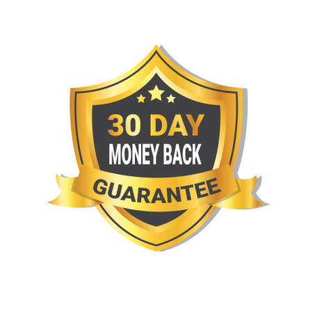 Golden shield money back in 30 days guarantee label with ribbon. Isolated vector illustration. Stock Illustratie