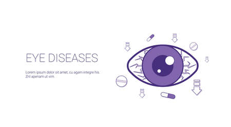 Eye Diseases Web Banner With Copy Space Health Care Concept Vector Illustration