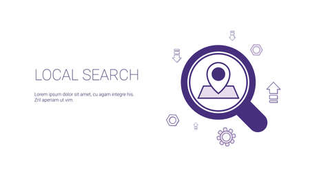 Local Search Web Banner With Copy Space Seo Marketing Strategy Concept Vector Illustration