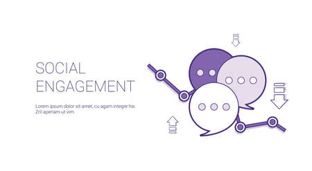 Social Engagement Web Banner With Copy Space Business Content Marketing Concept Vector Illustration Vetores