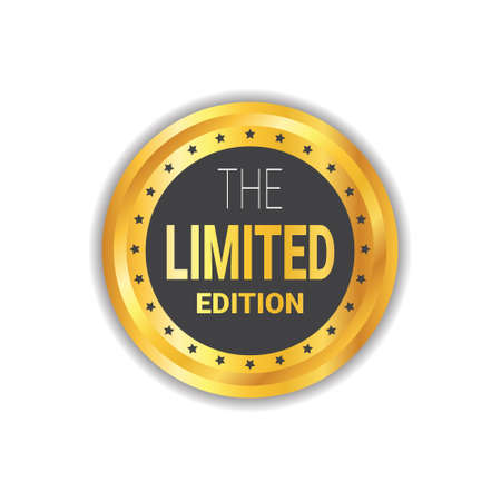 Limited Edition Sticker, Exclusive Offer Label Shopping Sale Discount, Golden Seal, Isolated Vector Illustration