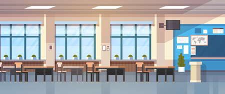 Class Room Interior Empty School Classroom With Chalkboard And Desks Flat Vector Illustration