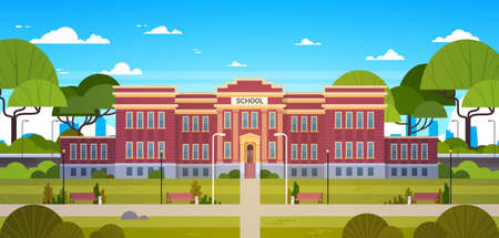 School Building And Empty Front Yard With Green Grass And Trees Landscape Flat Vector Illustration