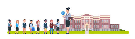 Teacher With Group Of Pupils Standing In Front Of School Building Horizontal Banner Flat Vector Illustration