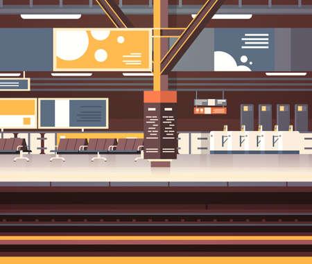 Sottopassaggio o ferrovia vuoto della piattaforma del fondo interno della stazione ferroviaria senza passeggeri
