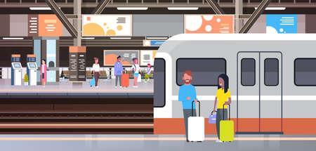 Stazione ferroviaria con i passeggeri della gente che scendono l'illustrazione di vettore di concetto di trasporto e del trasporto delle borse della tenuta del treno Vettoriali