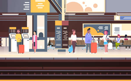 Railway Station Interior With People Passengers Waiting For Train Holding Bags Transport And Transportation Concept Vector Illustration
