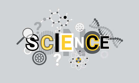 Science Research Creative Word Over Abstract Geometric Shapes Background Web Banner Vector Illustration
