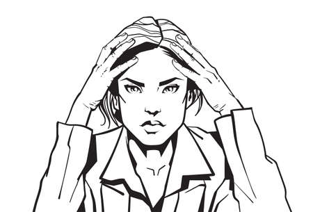 Portrait Of Angry Business Woman Holding Head With Headache Sketch Businesswoman Tired Or Upset Vector Illustration.