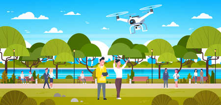 Couple Flying Drone In Park Man And Woman Using Remote Controller Play With Copter Outdoors Flat Vector Illustration