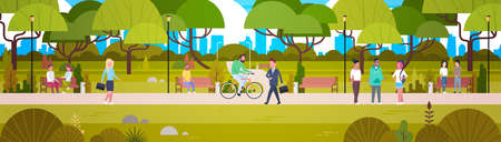 People Relaxing In Beautiful Urban Park Walking Riding Bicycle And Communicating Horizontal Banner Flat Vector Illustration