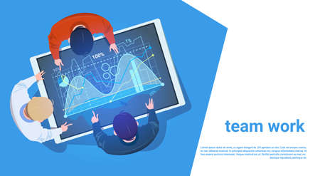 Group of people at digital tablet with financial graph, teamwork concept illustration.