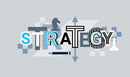 Strategy creative word over abstract geometric shapes background illustration.