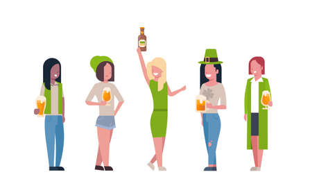 Group Of Mix Race Women In Green Clothes Drink Beer Celebrating Happy St. Patricks Day Isolated On White Background Flat Vector Illustration