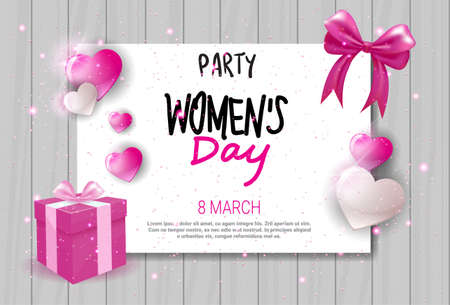 Womens Day Celebration Party Invitation Holiday Event Greeting Card Design Vector Illustration