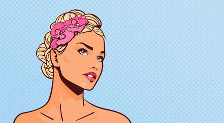 Attractive Blonde Woman Looking Up Portrait Of Beautiful Girl On Pinup Retro Background With Copy Space Vector Illustration. Illustration