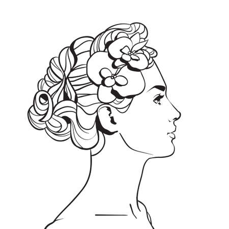Profile Of Beautiful Woman With Elegant Hairstyle Sketch Female Face On White Background Vector Illustration.