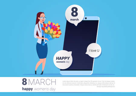 Happy Woman Hold Flowers Standing Over Smart Phone With Greeting Message 8 March Holiday Concept Vector Illustration
