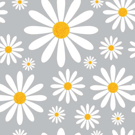 Seamless Pattern With Chamomile Flowers On Grey Background Beautiful Floral Ornament Vector Illustration.
