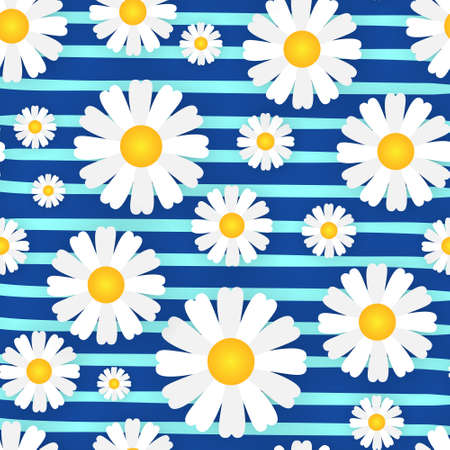 Chamomile Seamless Pattern With Flowers On Stripped Blue Background Beautiful Floral Ornament Vector Illustration