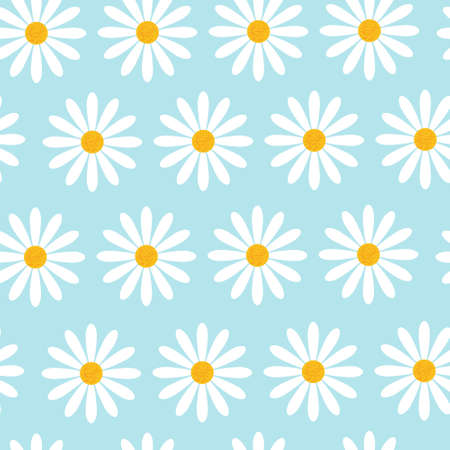 Seamless Pattern With Chamomile Flowers On Blue Background Beautiful Floral Ornament Vector Illustration Illustration