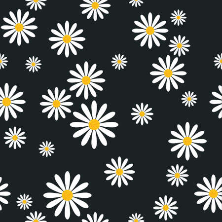 Seamless Pattern With Chamomile Flowers On Black Background Template Floral Ornament Vector Illustration