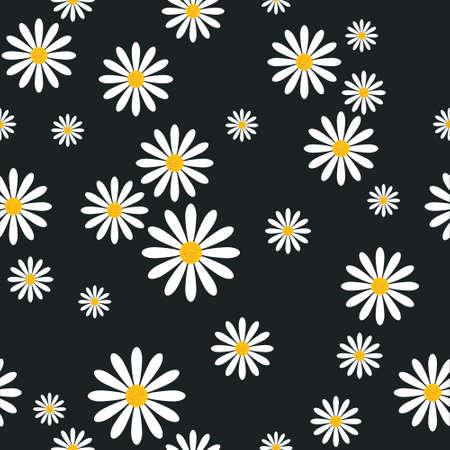 Patrón sin fisuras con flores de manzanilla sobre fondo negro plantilla ornamento floral ilustración vectorial