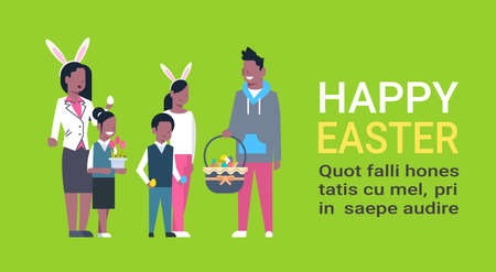 Big African American Family On Happy Easter Poster With Copy Space Parents And Children Celebrating Spring Holiday Wear Bunny Ears Flat Vector Illustration
