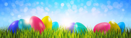 Colorful Easter Eggs On Green Grass Over Blue Bokeh Background Horizontal Banner Vector Illustration