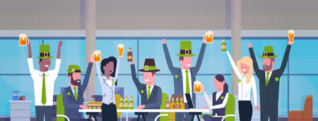 Office Workers Celebrate Happy St. Patrick Day Party At Workplace Cheerful People In Green Hats Drinking Beer Together Flat Vector Illustration