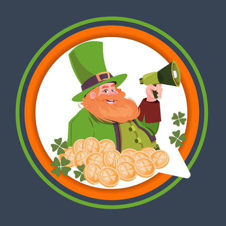 Happy St. Patricks Day Emblem Label With Leprechaun Holding Megaphone Flat Vector Illustration Illustration